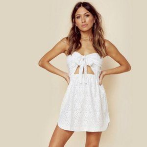 For Love & Lemons   Strapless Lace Tie Mini Dress